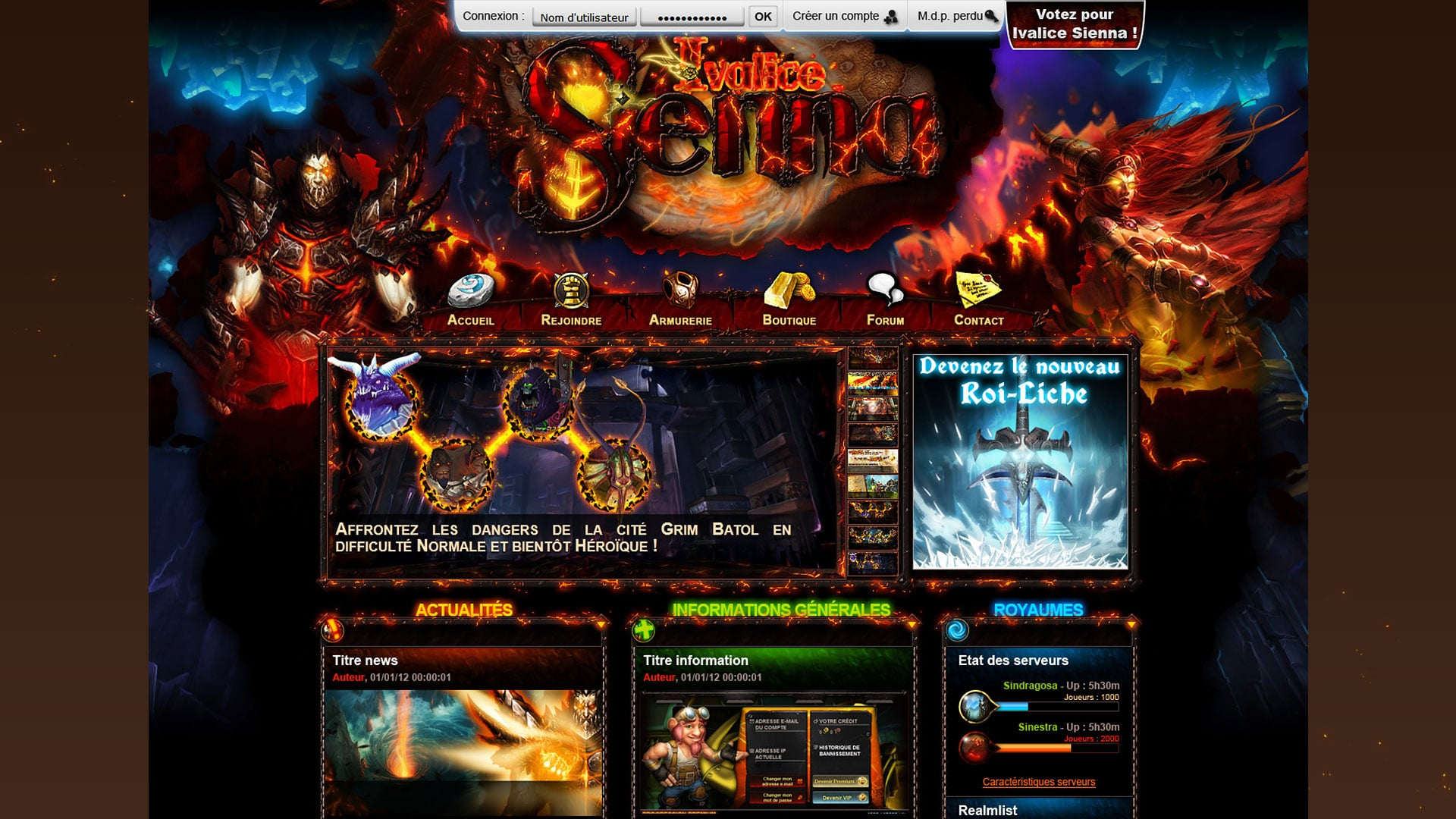 World of Warcraft Community - Website design