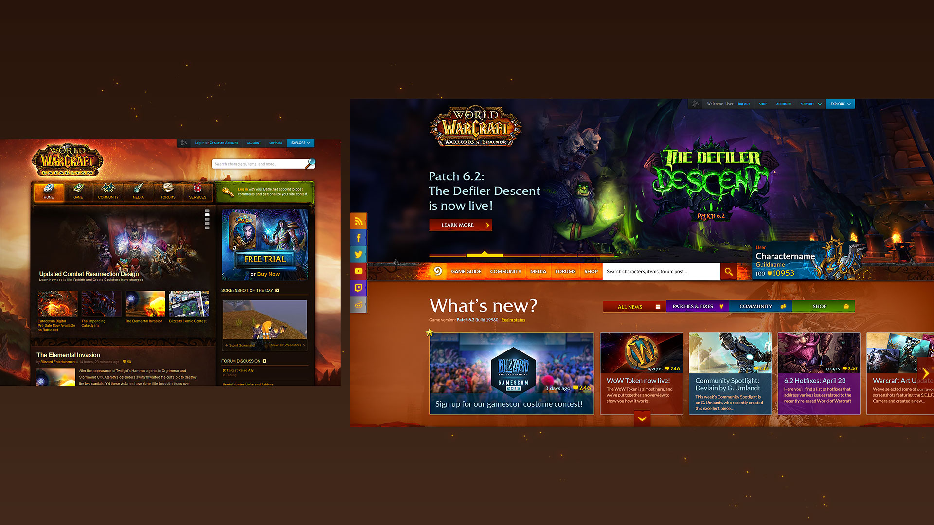 World of Warcraft - Redesigned homepage comparison