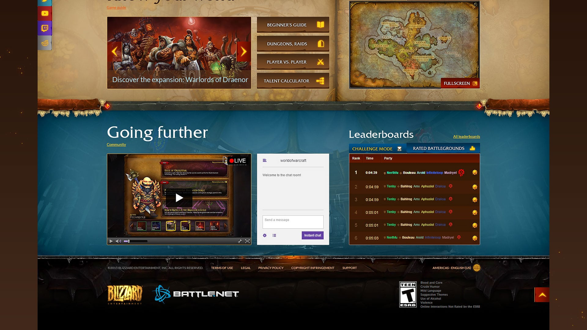 World of Warcraft - Redesigned homepage