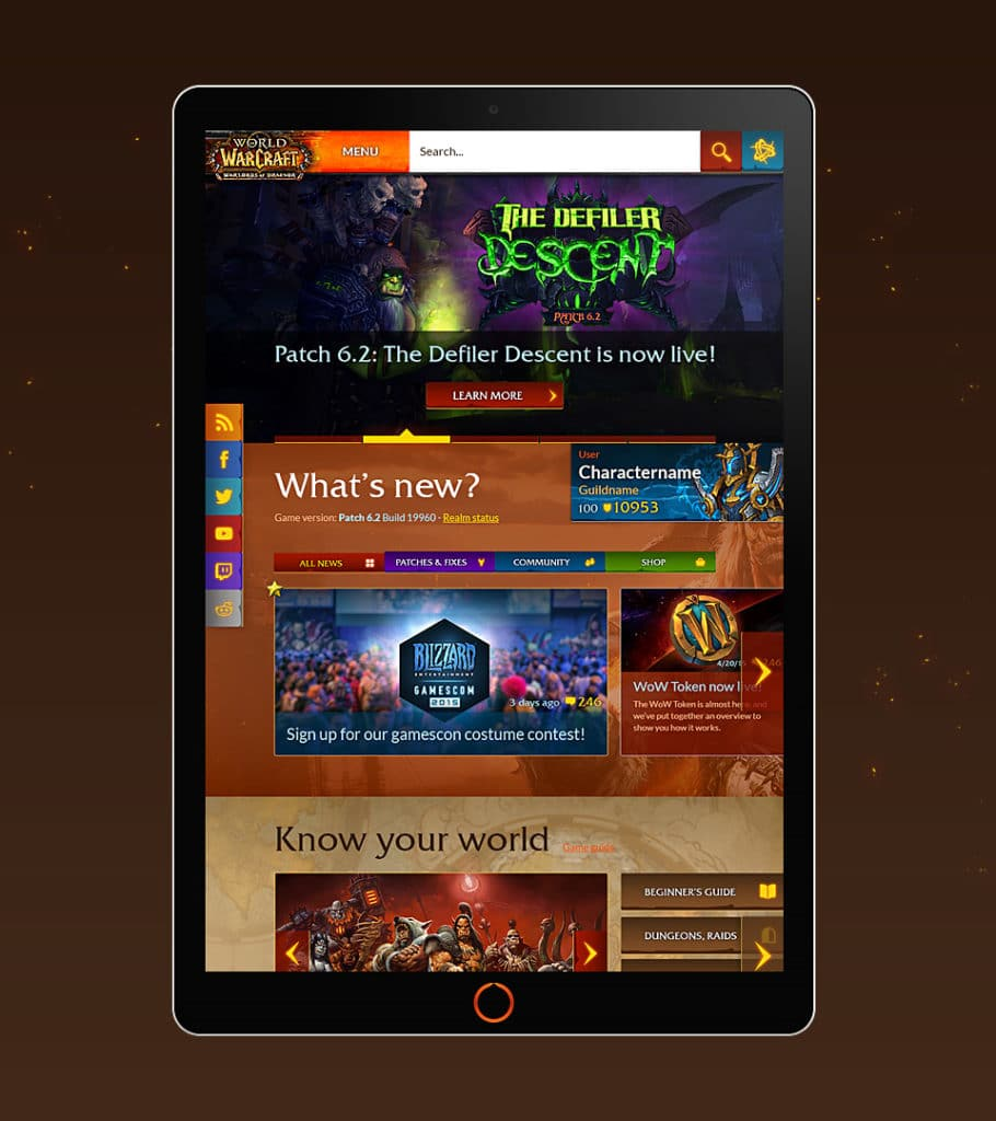 World of Warcraft - Redesigned homepage (mobile / tablet)