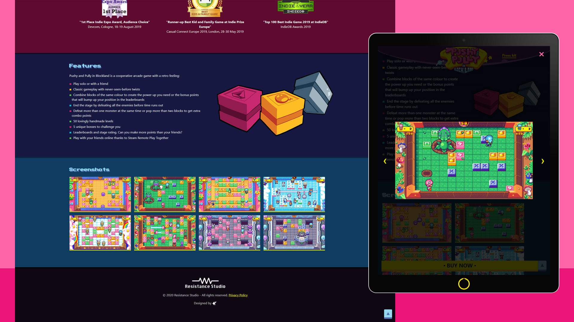 Pushy and Pully in Blockland - Landing page